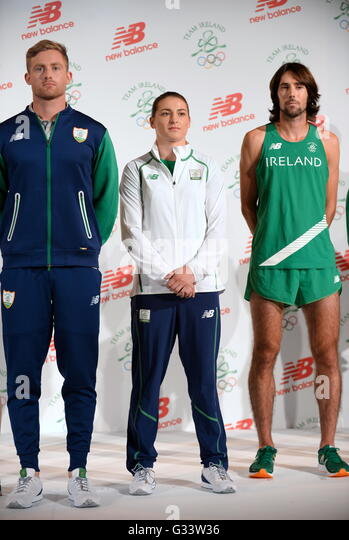 Irish Olympic team 2016 members (left-right) Arthur Lannigan O'Keefe, Katie Taylor and Mick Clohisey during - Stock Image