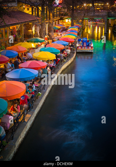 The Riverwalk, San Antonio, Texas, United States - Stock Image