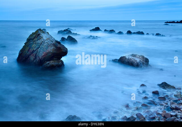 Rocks and sea on the Fife Coast near St. Andrews, Fife, Scotland, United Kingdom, Europe - Stock Image