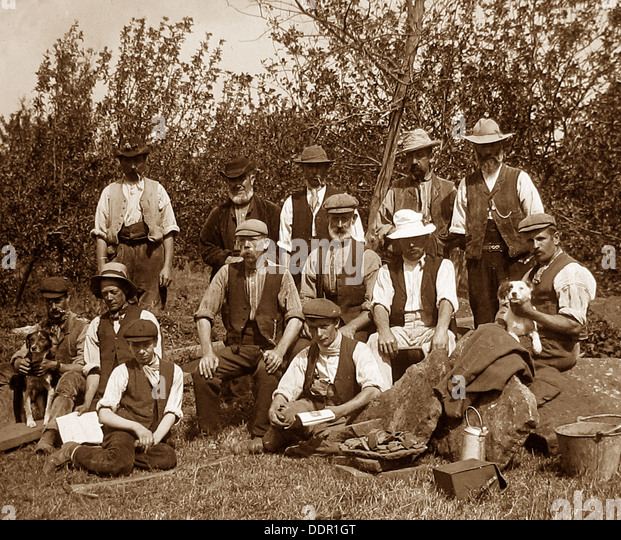Agricultural workers Victorian period - Stock-Bilder