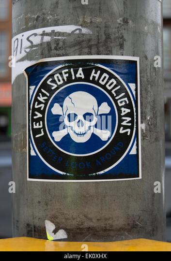 sticker denoting levski sofia hooligans, trouble seeking followers of the bulgarian football team levski sofia - Stock Image