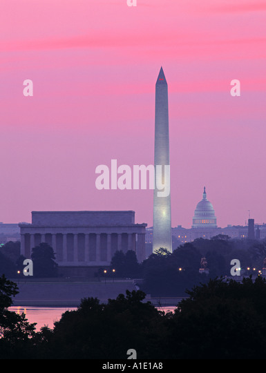 Lincoln & Washington Memorials & Capitol, Washington D.C. USA - Stock Image