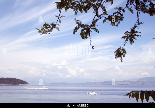 Boats in the Ionian Sea, Kerkyra, Corfu, Greece, TANKER  boat yacht sailing sail moored mooring pontoon jetty - Stock Image