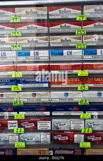 Cigarette carton prices on the Polish border on September 2008 - Stock Image