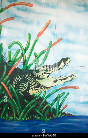 Graffiti of a crocodile, San Jose downtown, San José Province, Costa Rica - Stock Image