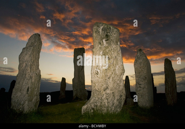 Callanish Stone Circle, Neolithic Standing Stones, Sunset on Summer Solstice, Isle of Lewis, Outer Hebrides, Scotland - Stock Image