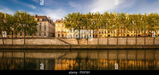 Quiet summer morning on the aspen tree-lined bank of the River Seine. Quai d'Anjou, Ile Saint Louis, Paris, - Stock Image