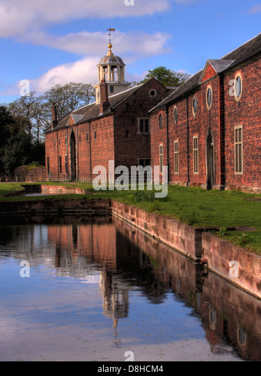 Dunham Massey, reflection in the Mill pond NT - Stock Image
