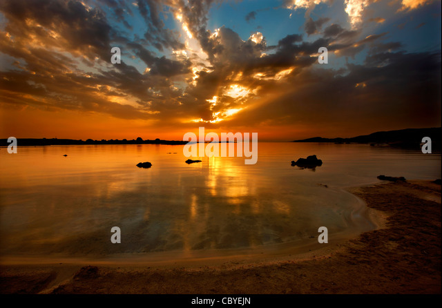 Sunset at Elafonissos (or 'Elafonissi') beach, Chania Prefecture, Crete, Greece - Stock Image