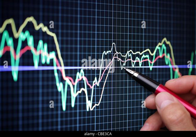 Market analyze on lcd screen - Stock Image