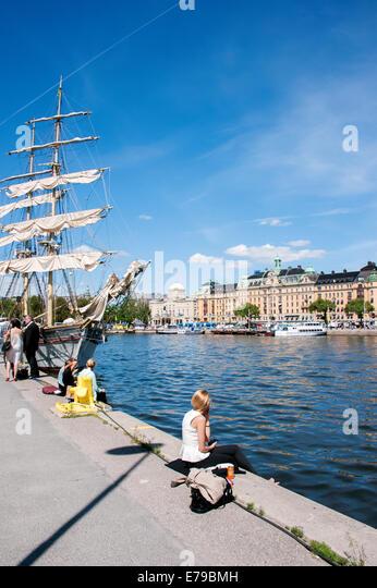 Sailboat, Strandvagen, Stockholm. - Stock Image