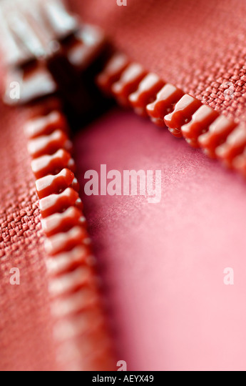 Red zip detail - Stock Image