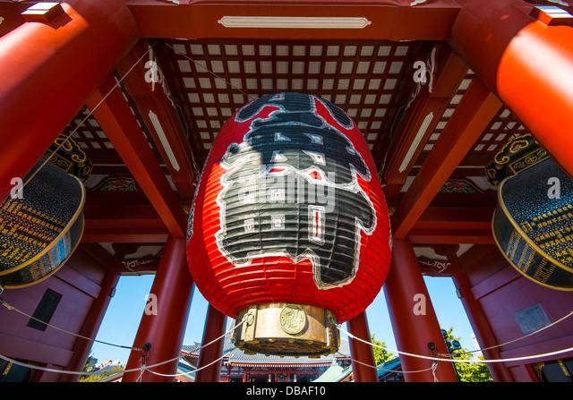 Giant lantern of Senso-ji temple in Asakusa, Tokyo. - Stock Image
