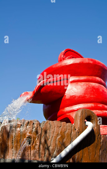 Fivels Playland kids playground with huge red water pump at Universal Studios Orlando Florida - Stock Image
