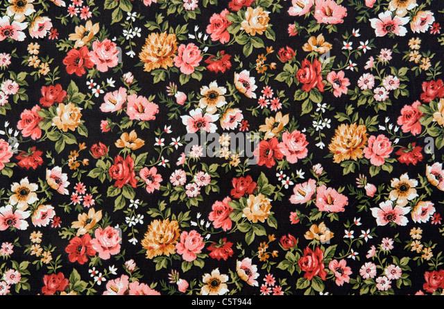 Floral wallpaper, full frame - Stock Image