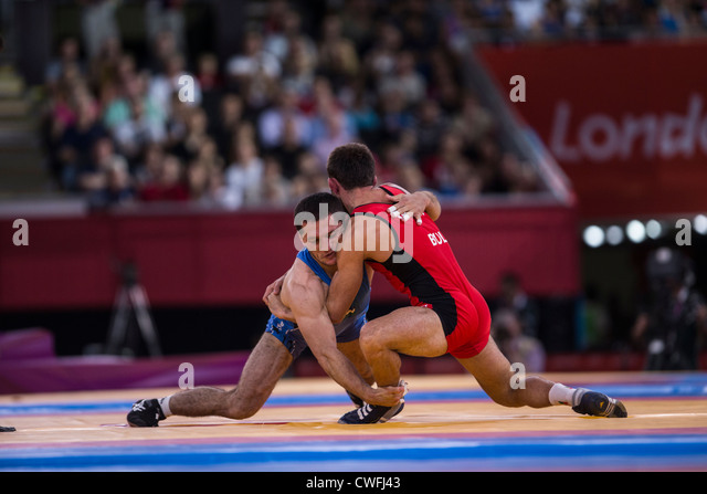 Men's 55kg Freestyle Wrestling at t he Olympic Summer Games, London 2012 - Stock Image