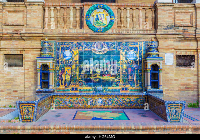 Glazed tiles of bench spanish province of Alava at Plaza de Espana, Seville, Spain - Stock Image