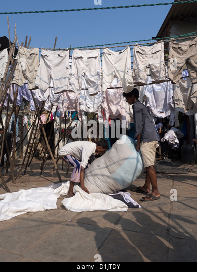 Laundry Hanging to dry in Dhobi Ghat an outdoor laundry facility in Mumbai India. - Stock Image