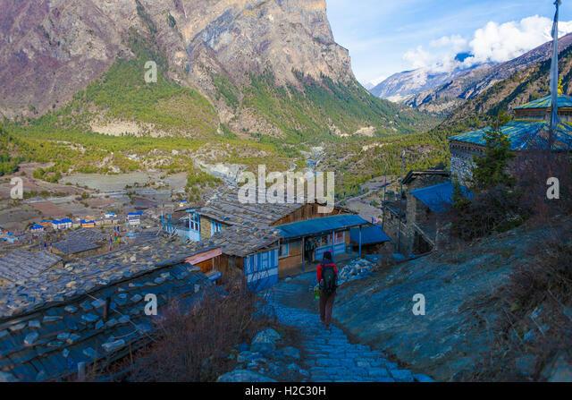 Young Woman Tracking Himallaya Vilage.View Nepal Mountans Background. Hikking Sport Travel. Horizontal - Stock Image