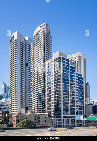 Australia, New South Wales, Sydney, city north highrise at Bradfield Highway - Stock Image