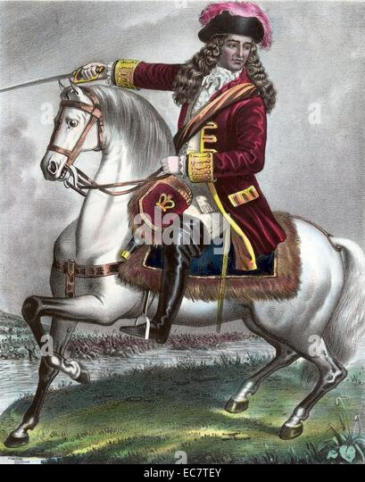 William of Orange, shown riding a horse. William III fought the Catholics at The Battle of Boyne. Dated around 1690 - Stock-Bilder