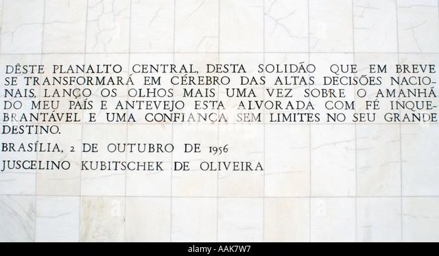Juscelino Kubitschek Sayings on a Wall Three Powers Square Brasilia Brazil - Stock Image