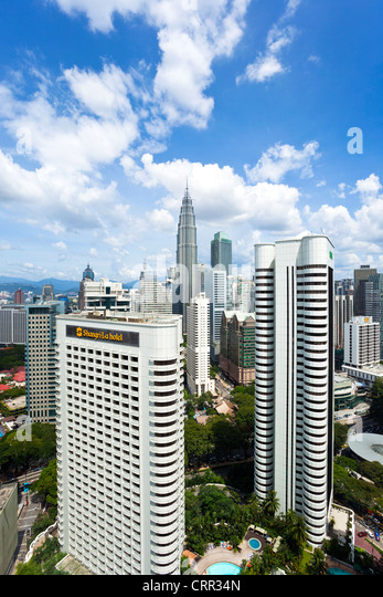 Malaysia, Kuala Lumpur, view over Kuala Lumpur City Centre & Petronas Towers - Stock Image