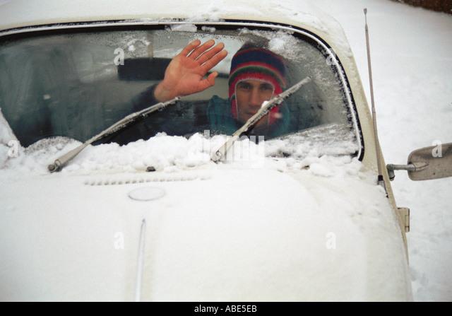 Stranded in the snow - Stock Image