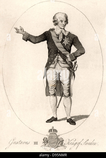 Gustavus III (1746-1792) king of Sweden from 1771.  Assassinated at a masked ball.  The libretto for Verdi's - Stock Image