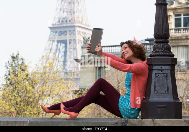 Portrait of woman in Paris - Stock Image