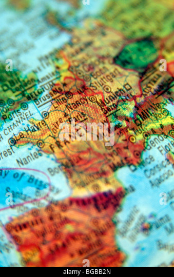 photograph of travelling to france paris maps globe european - Stock-Bilder