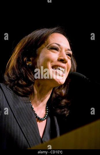 Kamala Harris, Obama's California Co Chairman, talks to the California Democratic Party Convention in San Jose, - Stock Image