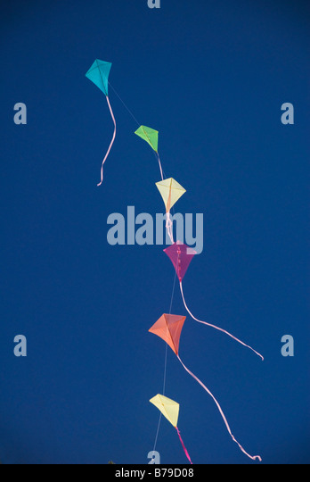 kites made from recycled plastic shopping bags. - Stock Image