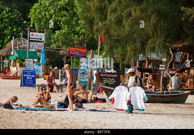 beach life at funky fish restaurant in Long beach Koh Lanta Thailand - Stock Image