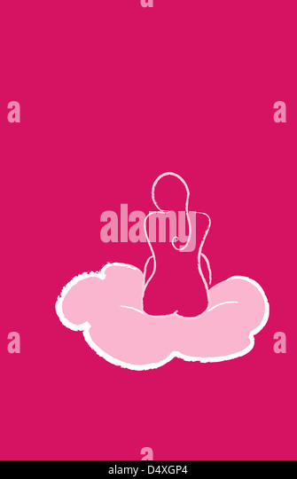 Naked woman sitting on a cloud, seen from behind. - Stock Image