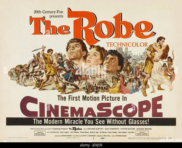 THE ROBE 1953 20th Century Fox film with Jean Simmons, Richard Burton, Victor Mature - Stock-Bilder