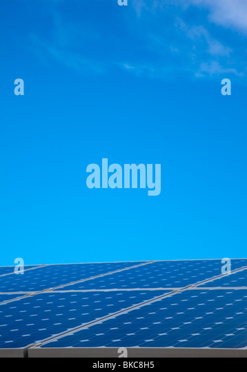 Solar Panel Against Blue Sky - Stock Image