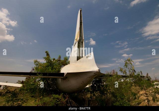 An airplane crash wreckage in Haiti - Stock Image