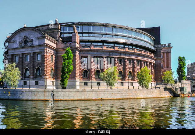 Sweden Stockholm Riksdagshuset or the House of Parliament in Gamla Stan the historic centre - Stock Image