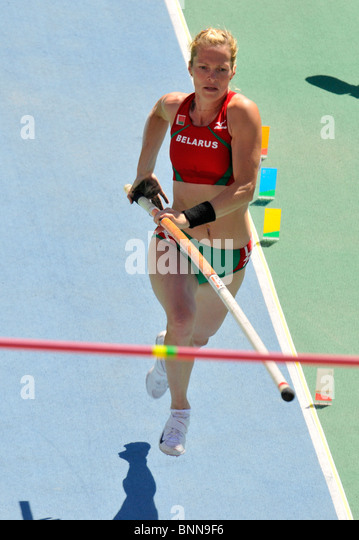 28.7.2010 European Athletics Championships in Barcelona, Spain;Anastasiya SHVEDOVA (BLR), Pole Vault - Stock Image