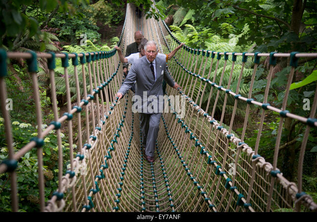 Britain's Prince Charles , The Prince of Wales, crosses the longest rope bridge in the UK at The Lost Garden's - Stock Image