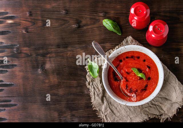 Tomato gazpacho soup - Stock Image