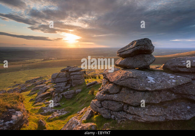 Sunset over Arm's Tor, Dartmoor National Park, Devon, England. Summer (August) 2014. - Stock Image