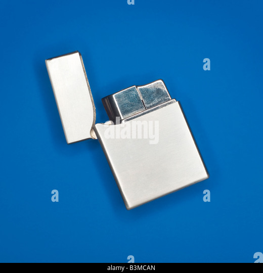 Silver Cigarette Lighter, elevated view - Stock Image