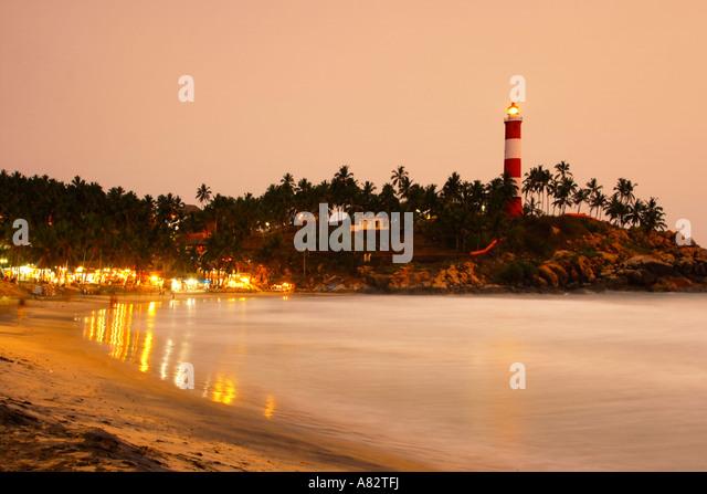 India Kerala Kovallam beach sunset - Stock Image