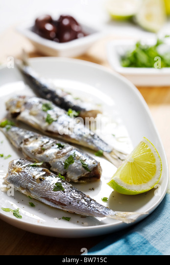 grilled sardines - Stock Image