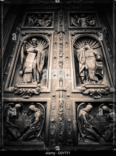 Russian Orthodox reliefs on the bronze doors of St. Isaac's Cathedral in St. Petersburg, Russia. - Stock Image