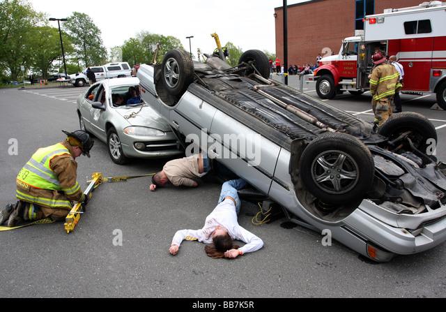 A fake DUI Car Crash - Stock Image