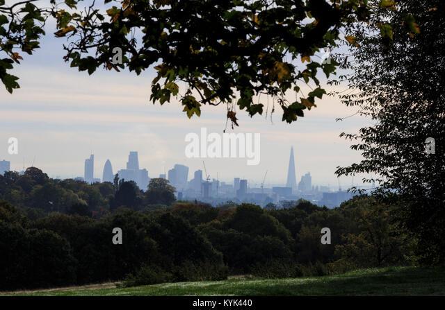 London skyline from Kenwood, North London, England, United Kingdom - Stock Image