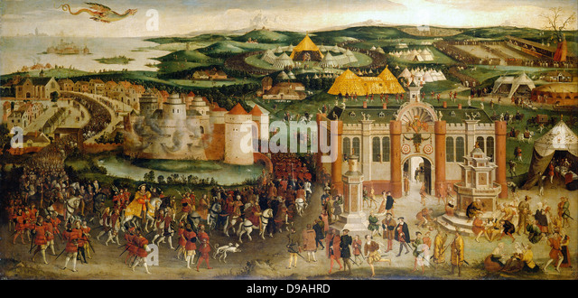 The meeting of Francis I and Henry VIII at the Field of the Cloth of Gold in 1520 - Stock-Bilder